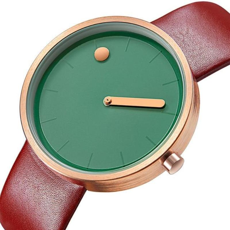 gold line and dot coffee colored band green face minimalist wrist watch