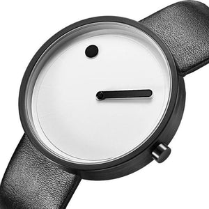 side view of line and dot black band white face minimalist wrist watch