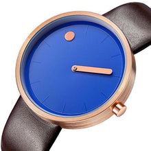 Load image into Gallery viewer, gold line and dot dark brown colored band and blue face minimalist wrist watch