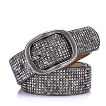 Load image into Gallery viewer, grey rhinestone covered pin buckle belt