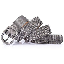 Load image into Gallery viewer, grey rhinestone covered pin buckle belt wound up on table