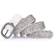 Load image into Gallery viewer, white rhinestone covered pin buckle belt