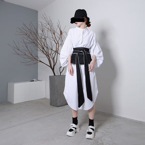 black oversized cloth belt long view