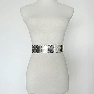 silver snake skin belt on a mannequin