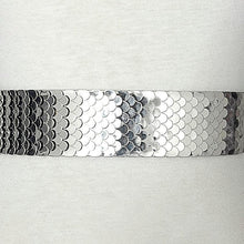 Load image into Gallery viewer, silver snake skin belt up close view