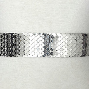 silver snake skin belt up close view