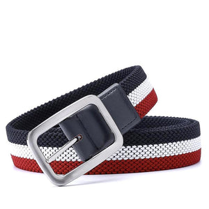 red and white stretch canvas belt