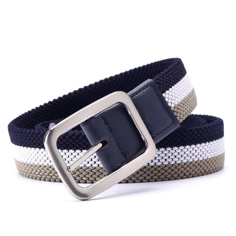 khaki and navy stretch canvas belt