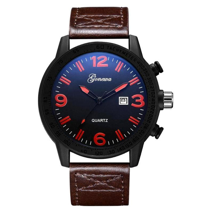dark coffee band and dark royal blue face with red amber numbers mens quartz wristwatch