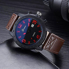 Load image into Gallery viewer, table top side view of dark coffee band and dark royal blue face with red amber numbers quartz wristwatch