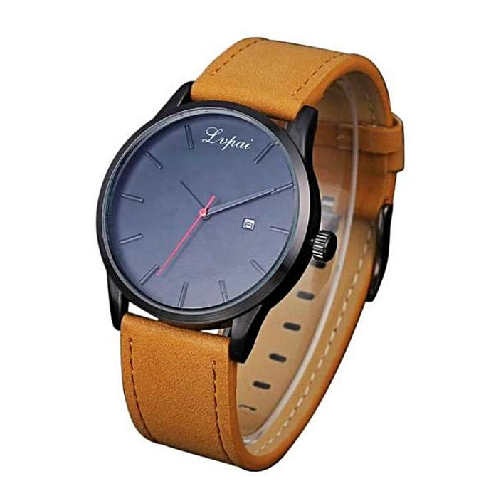 white background brown leather band analog watch