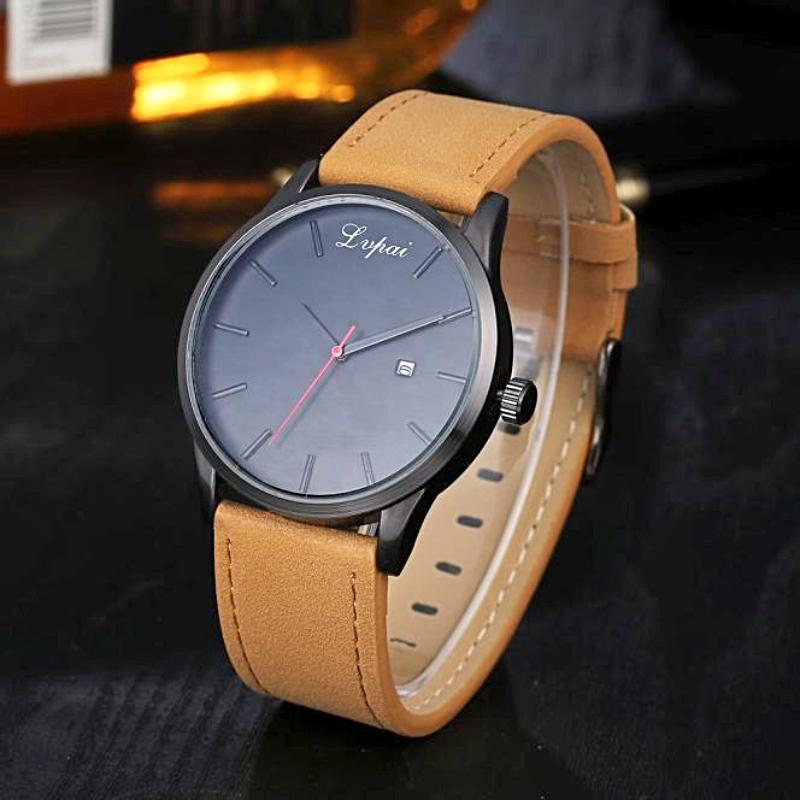 brown leather band analog watch