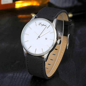 black leather white watchface band analog watch