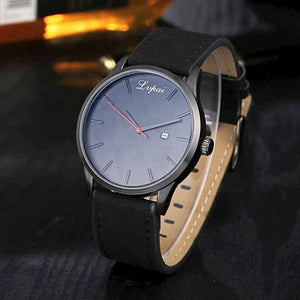 black leather blue watch face band analog watch