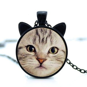grey cat face pendant