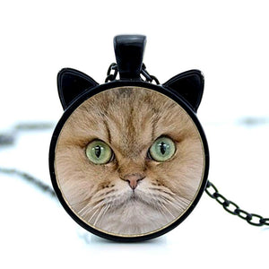 blonde cat face pendant