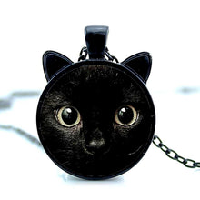 Load image into Gallery viewer, black cat face pendant