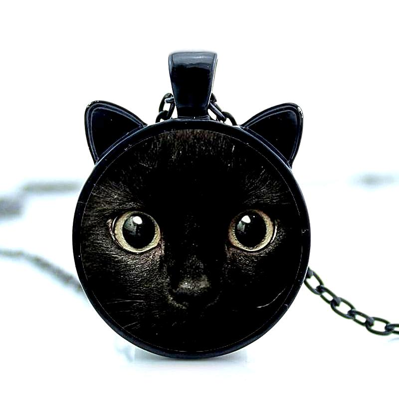 black cat face pendant