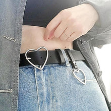 Load image into Gallery viewer, woman wearing dual hearts belt up close view
