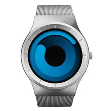 Load image into Gallery viewer, blue swirl modern artist watch face with silver band minimalist watch for men