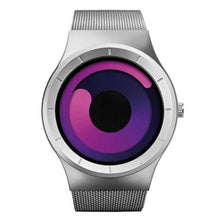 Load image into Gallery viewer, magenta swirl modern artist watch face silver band minimalist watch for men