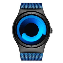 Load image into Gallery viewer, radiant blue swirl modern artist watch face with blue band minimalist watch for men