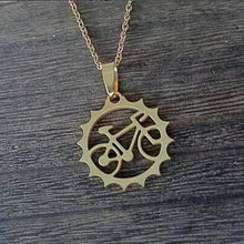 Load image into Gallery viewer, 18k gold bicycle pendant and chain