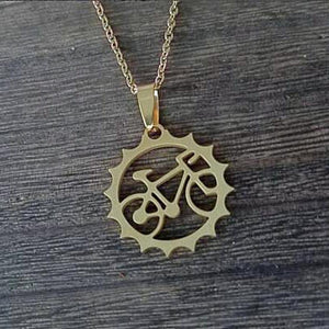 18k gold bicycle pendant and chain