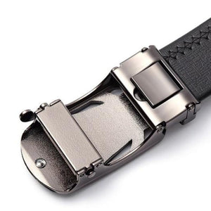 automatic adjustable leather belt back of buckle view