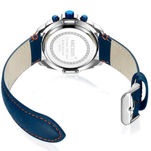 Load image into Gallery viewer, back view water resistant blue face chronograph analog quartz watch