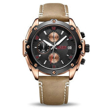 Load image into Gallery viewer, water resistant black face brown leather band chronograph analog quartz watch