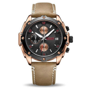 water resistant black face brown leather band chronograph analog quartz watch