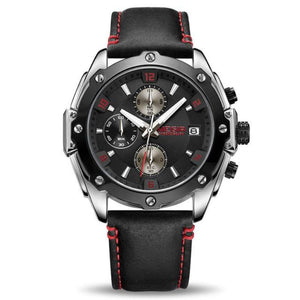 water resistant black face black leather band chronograph analog quartz watch