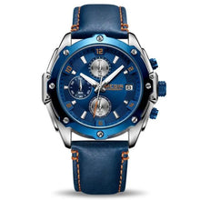 Load image into Gallery viewer, water resistant blue face blue leather band chronograph analog quartz watch