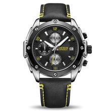 Load image into Gallery viewer, water resistant black face grey leather band chronograph analog quartz watch