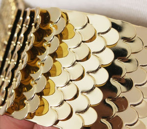 magnified view of gold snake skin belt