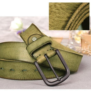 textured olive belt front view