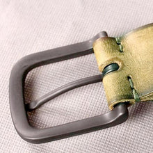 Load image into Gallery viewer, textured leather belt buckle up close view