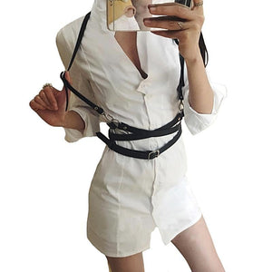 harness belt shown on white outfit