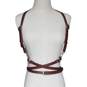 brown harness belt front view