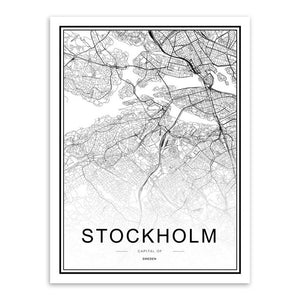 Modern Black and White World City Maps