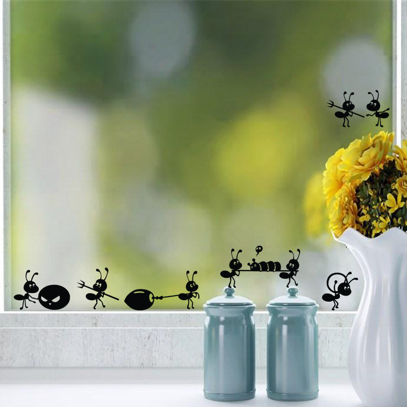 Cute Kitchen Window Black Ants move Decal Stickers