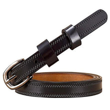Load image into Gallery viewer, stitched thin blue leather belt
