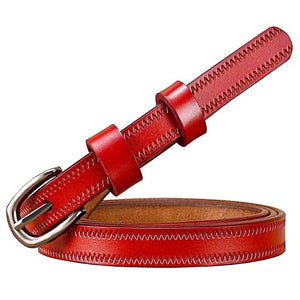 stitched thin red leather belt