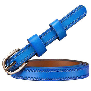 stitched thin blue leather belt
