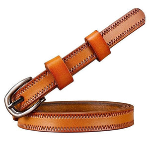 stitched thin brown leather belt