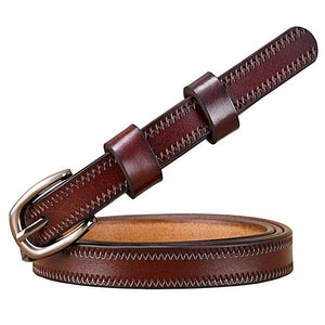 stitched thin coffee leather belt