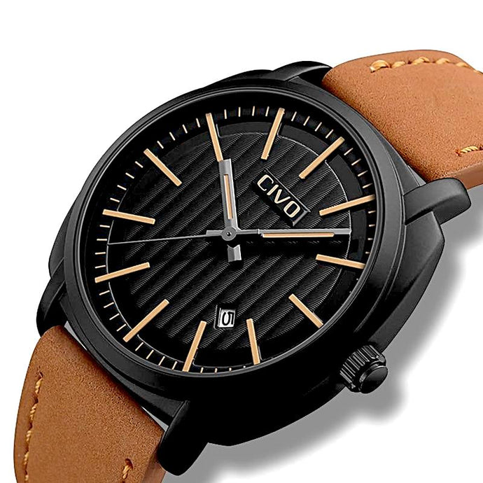 cowboy chic leather band black face watch