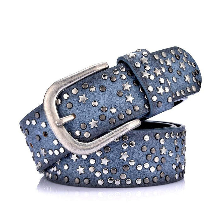 blue stars and rivets pin buckle belt