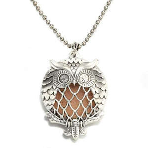 intricate owl style diffuser necklace